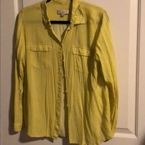 LOFT Yellow green blouse with small white pattern